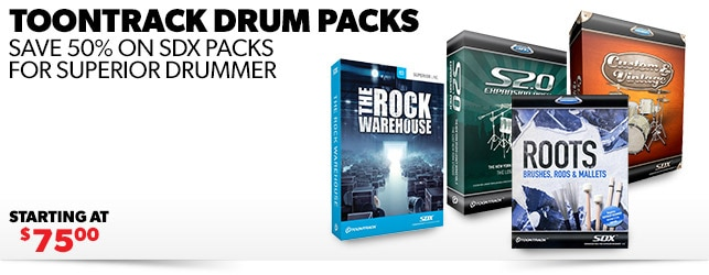 Save 50% on Toontrack SDX Titles